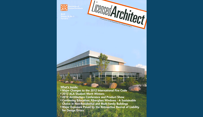 Partners in Design Architects featured in Licensed Architect magazine.